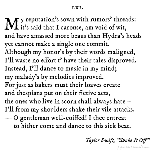 Pop Sonnets: Shakesperean poems with a twist