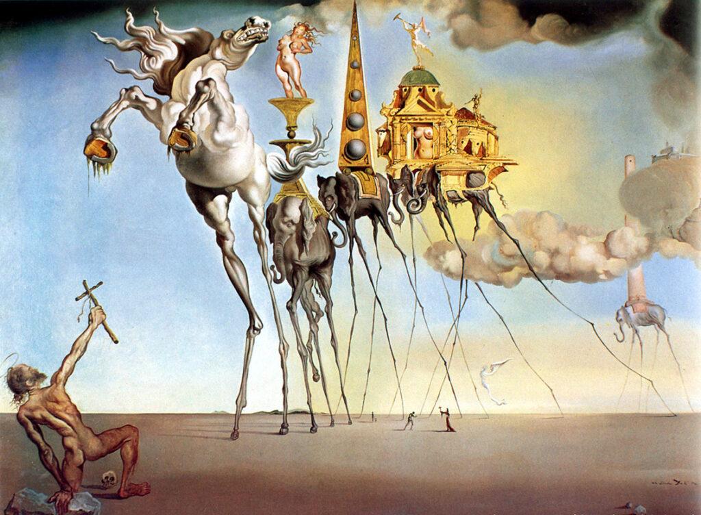 Salvador Dalì, La Tentazione di Sant'Antonio, 1946, Museo reale delle belle arti, Bruxelle